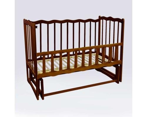 """гр Кроватка деревян. маятник - откидной бортик """"Волна"""" (1) ольха - цвет тёмно-коричневый"""